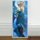 "Stunning Alphonse Mucha Moon And Stars ~ CANVAS PRINT 24""X10"" Art Nouveau"