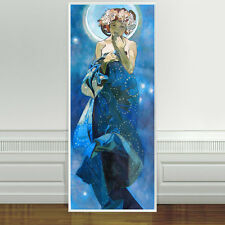 "Stunning Alphonse Mucha Moon And Stars ~ CANVAS PRINT 24""X10"" Art Nouveau"