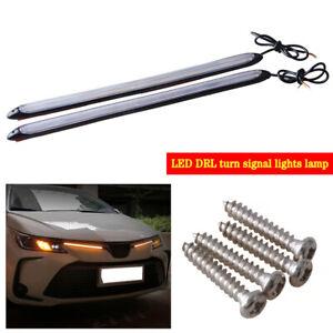 "2x 13"" Car LED Daytime Running Light Strip DRL Driving Turn Signal White/Amber"
