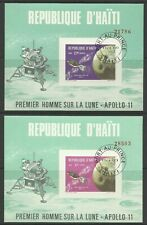 HAITI 1969 APOLLO 11 IMPERF MINI SHEETS USED