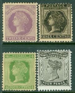 EDW1949SELL : PRINCE EDWARD 1868-72 Scott #9, 14-16 VG-F, Mint OG. Catalog $35.