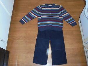 Gymboree Antique Truck blue corduroy pants & matching sweater outfit set size 5