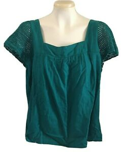 Old Navy Teal Green Smocked Top Crochet Knit Short Sleeves Square Neck Size L