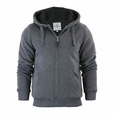 Mens Hoodie Brave Soul Zone Sherpa Fleece Lined Zip up Hooded Sweater Charcoal Marl X Large
