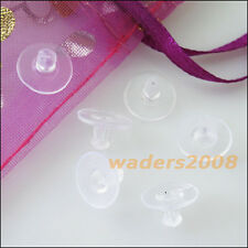 100 New Hypo Rubber Earring Back Stopper Finding Big Pads Transparent 6x10mm
