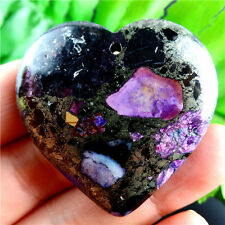 Charming Purple Sea Sediment Jasper & Pyrite Heart Pendant Bead L5XY0165