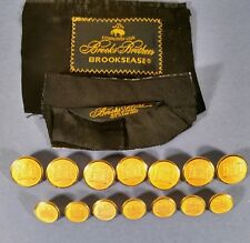 Brooks Brothers Gold Colored Replacement Buttons Castle Gate 2 Labels Set of 14