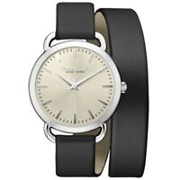 Caravelle Women's Watch Quartz Beige Dial Black Leather Strap 43L163