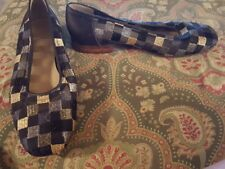 Heyraud 38 black gold silver checkered low heels flats shoes