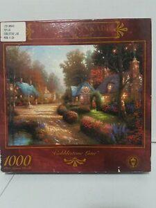 Vintage 1997 Thomas Kinkade Cobblestone Lane 1000 Piece Puzzle 27x20 NIB