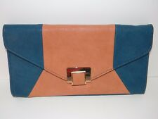 URBAN EXPRESSIONS CERTIFIED VEGAN LARGE CLUTCH  BLUE AND BROWN PURSE