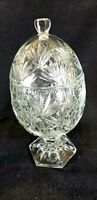 Vintage Oval Shaped Crystal Candy Dish
