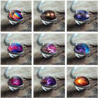 Universum Planet Glas Halskette Star Leuchtenden Anhänger Pullover Kette Schmuck