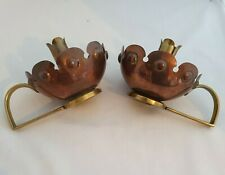 Pair of Arts and Crafts Benham and Froud copper and brass candlesticks