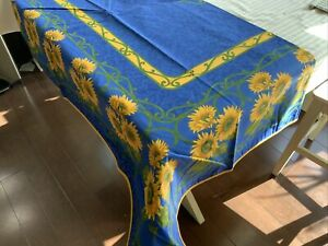 """French Provençal Tablecloth, Blue/Yellow Sunflower, 60""""x90"""", Made In France New"""