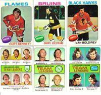 Assorted 75-76, 76-77, 77-78 OPC & Topps Hockey Lot - Pick 10 Finish Set