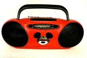 Mickey Mouse Unlimited MU-462 AM/FM CASSETTE Portable Boom Box Radio Red EUC