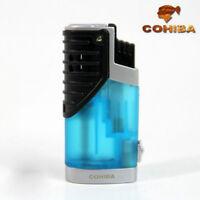 COHIBA Blue Translucence 3 Torch Jet Flame Cigar Cigarette Lighter W/ Punch