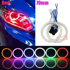 2pcs Car Motorcycle Headlight 70mm Red Angel Eyes Cob Halo LED Ring Lights DRL