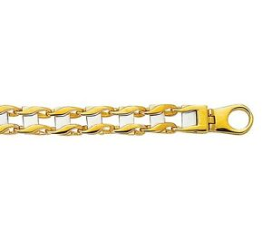 "Men's 14K Yellow White Gold Oval Railroad Twist Style Chain 8.5"" Bracelet"