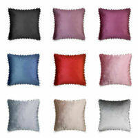 Luxury Pom Pom Plain Velvet Cushion Cover only or With Filling 43x43cm 9 Colours