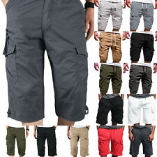Mens Elasticated Waist Cargo Combat 3/4 Length Shorts Casual Bottoms Half Pants