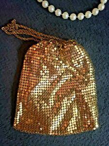 "Vtg Whiting & Davis Gold Metal Flapper Evening Bag 5""X4"" Gold Mesh Purse Rare !!"