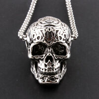 Men Women Silver Stainless Steel Skull Pendant Punk Rock Necklace Jewelry Cool