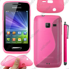 Housse Etui Coque Silicone Motif S-line Gel Rose Samsung WAVE Y S5380 + Stylet