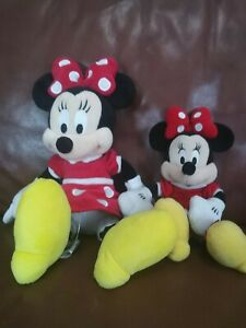 Pair Of Two Minnie Mouse Plush Red Dress