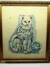 Large Cross Stitch Persian Cat with Yarn Embroidered Sampler Picture Nice Kitten