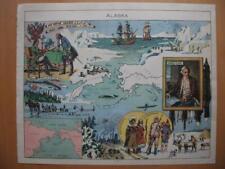 1948 - PINCHON - Illustrated map ALASKA  Behring Cook Bears