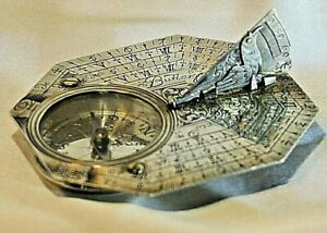 Antique COLLECTABLE  SILVER BUTTERFIELD OCTAGONAL SUNDIAL+Case.ca 1700's