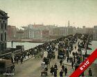 LONDON BRIDGE SKYLINE OLD ENGLAND BRITISH UK 1800'S ART CANVAS PAINTING PRINT