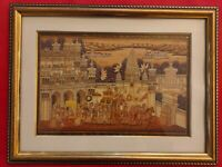 Hand Painted India Procession Maharajah Miniature Painting Framed Artwork Sunset