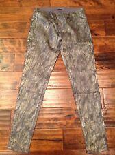"""J Brand """"Leggings"""" Coated Silver Jeans With Snake Skin Print, Size 30"""