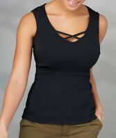 New BRAVISSIMO 8 -18 CRC RSC CROSS NECK RIB VEST TOP BLOUSE CAMI BLACK COTTON