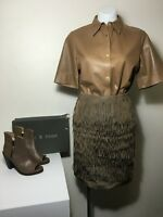 =SOPHISTICATED= LANVIN Brown Silky Dupion Asymmetric Fringe Raw Edge Skirt US6
