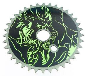 MONSTER WOLF BOYS Green and Black ONE PIECE SPROCKET CRANK ( CIRCULAR) NEW