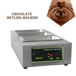 3 Pans Commercial 3 Lattice Chocolate Melting Pot Machine Stainless Steel 12kg