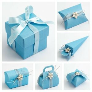 Silk Blue Wedding Favour Boxes - Luxury DIY Party Baby Shower Boy Gift Box Only