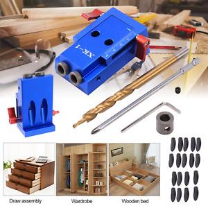 Pocket Hole Jig Kit System Mini Kreg Style Wood Working Joinery Step Drill Bit#