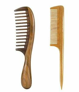 2pcs Sandalwood Wide Tooth Hair Combs Moon Shape Wooden Comb for Curly Hair