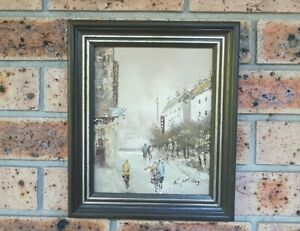 Vintage Original Oil Painting on Board Framed and Signed European Cityscape
