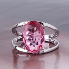 Solitaire Ring 18K white gold filled pink sapphire Stunning lady's ring Sz6-Sz10