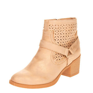 MARIAMARE Ankle Boots EU 41 UK 8 US 11 Treated Worn Look Laser Cut Harness Strap