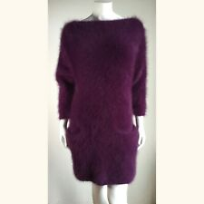 "Fuzzy 80% Angora Vintage CARLA BRUNI Sweater Plum  V-Back Dress Tunic 36""-Bust"