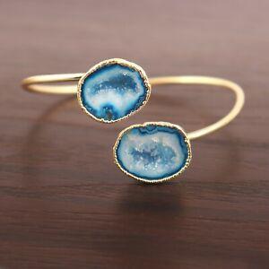 Printed Double Sky Blue Geode Druzy 24k Gold Plated Adjustable Bangle Bracelet