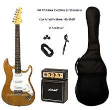 Kit Chitarra Elettrica Stratocaster Natural Amplificatore Marshall e Accessori