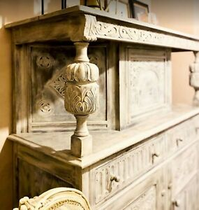 STUNNING SOLID OAK Dresser, distressed with Annie Sloane. Top&bottom cupboards